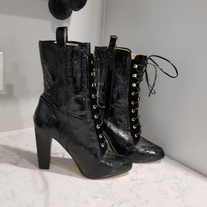Shoes - LACE UP BLACK PATENT LEATHER BOOTS